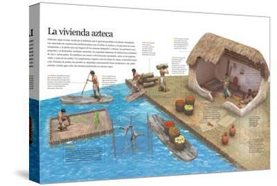 Infografía Del Modo De Vida De Los Aztecas En Su Entorno Cotidiano Y De Su Vivienda--Stretched Canvas Print