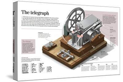 Infographic of the Telegraph, More Than 170 Years Ago Changed Communication and Societies--Stretched Canvas Print