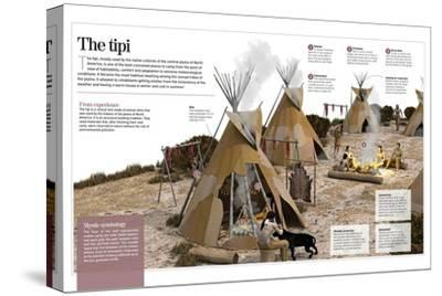 Infographic About the Tipi, Refuge Tent Used by North-American Indians as a House in the 1500S--Stretched Canvas Print