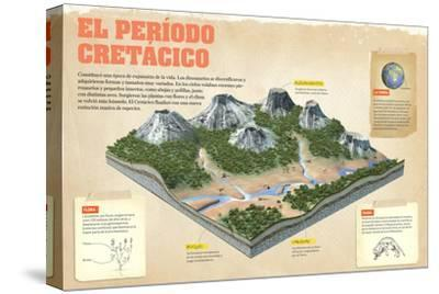 Infografía Sobre El Período Cretácico, (Mesozoico,). Se Originaron Las Flor--Stretched Canvas Print