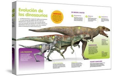 Infografía Que Muestra La Evolución De Los Dinosaurios a Lo Largo De La Era Mesozoica--Stretched Canvas Print