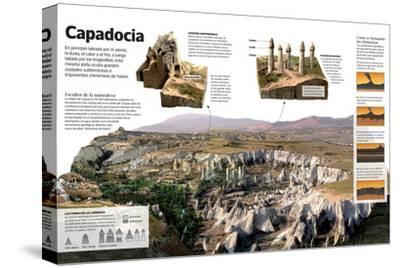 Infografía Sobre Capadocia (Turquía), Una Meseta Árida Con Formaciones Geológicas Únicas--Stretched Canvas Print