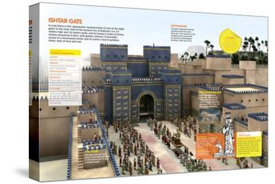 Infographic of the Door of Ishtar (Irak), One of the Eight Monumental Doors of the Wall of Babylon--Stretched Canvas Print
