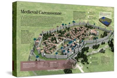 Infographic About the History and Town-Planning of Carcassonne, Medieval French City--Stretched Canvas Print
