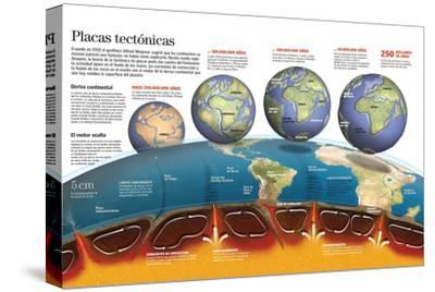 Infografía Sobre Las Placas Tectónicas. Formación De Los Continentes Y Océanos Actuales--Stretched Canvas Print