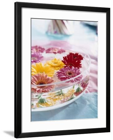 A Bowl of Flowers Floating in Water (Table Decoration)-Alexander Van Berge-Framed Photographic Print