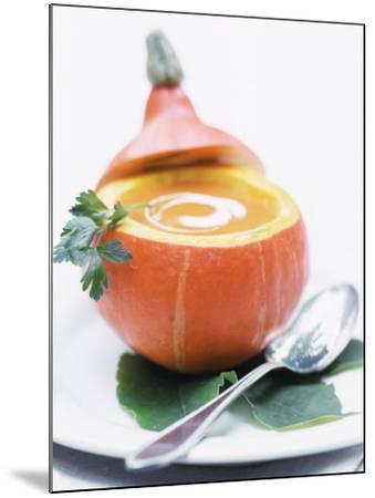 Pumpkin Soup with Creme Fraiche in Hollowed-Out Pumpkin-Brigitte Sporrer-Mounted Photographic Print