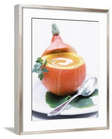 Pumpkin Soup with Creme Fraiche in Hollowed-Out Pumpkin-Brigitte Sporrer-Framed Photographic Print