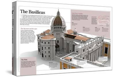 Infographic About the Basilicas, Specifically the Basilica of Saint Peter (The Vatican, Rome)--Stretched Canvas Print