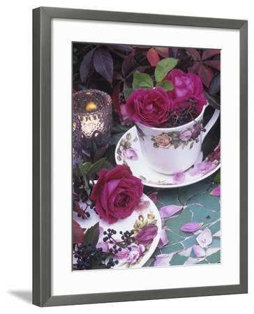 Table and Tableware Decorated with Roses-Elke Borkowski-Framed Photographic Print
