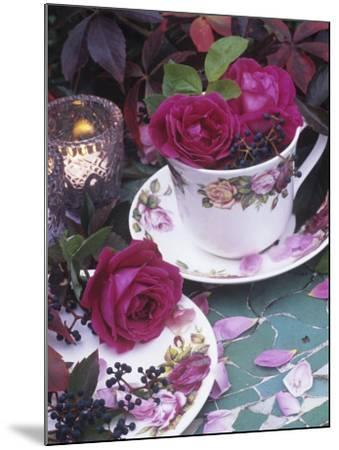 Table and Tableware Decorated with Roses-Elke Borkowski-Mounted Photographic Print