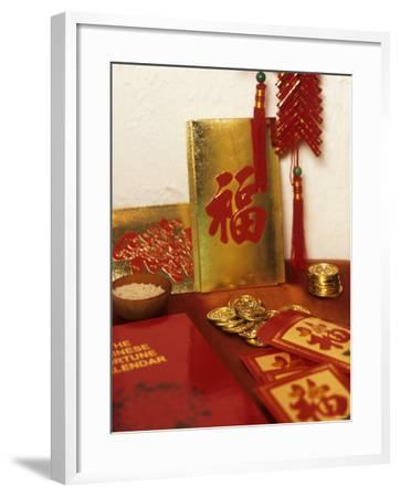 Chinese Good Luck Symbols for New Year (Gold Coins & Rice)--Framed Photographic Print