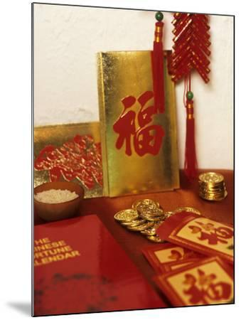 Chinese Good Luck Symbols for New Year (Gold Coins & Rice)--Mounted Photographic Print
