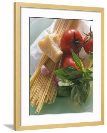 Still Life with Spaghetti, Tomatoes, Basil & Parmesan--Framed Photographic Print