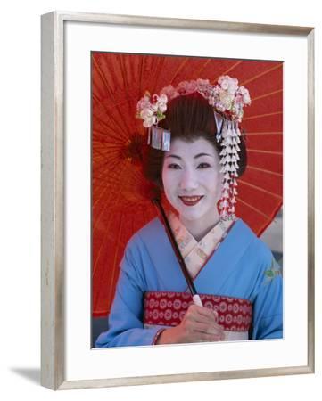 Apprentice Geisha (Maiko), Woman Dressed in Traditional Costume, Kimono, Kyoto, Honshu, Japan--Framed Photographic Print