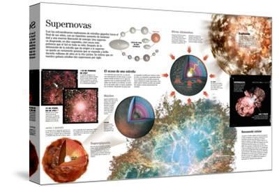 Infografía De La Formación De Una Supernova, Hacia El Final Del Ciclo De Vida De Una Estrella--Stretched Canvas Print
