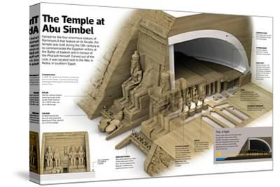 Infographic of the Temple at Abu Simbel, known by its Four Colossi of Ramesses II--Stretched Canvas Print