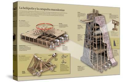 Infografía Sobre La Helépolis Y La Catapulta Macedonias--Stretched Canvas Print