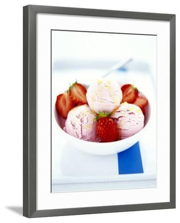 Strawberry Yoghurt Ice Cream with Honey Sauce-Antje Plewinski-Framed Photographic Print
