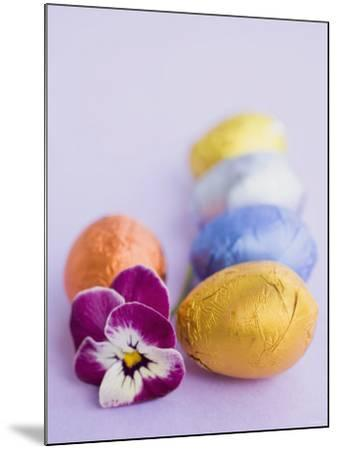 Chocolate Eggs in Foil, with Pansy--Mounted Photographic Print
