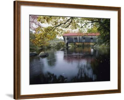 Tranquil Scene with Covered Bridge--Framed Photographic Print