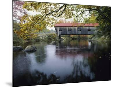 Tranquil Scene with Covered Bridge--Mounted Photographic Print