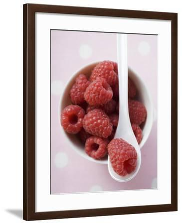 Raspberries in Small Bowl with Spoon--Framed Photographic Print