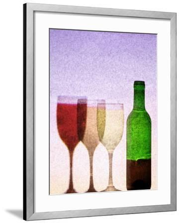 Red Wine Bottle with Three Glasses-Peter Howard Smith-Framed Photographic Print