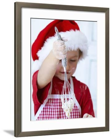Girl Mixing Dough with a Whisk-Alena Hrbkova-Framed Photographic Print