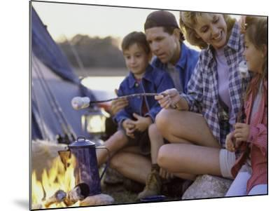 Parents And Their Children Sitting Around a Campfire Toasting Marshmallows--Mounted Photographic Print