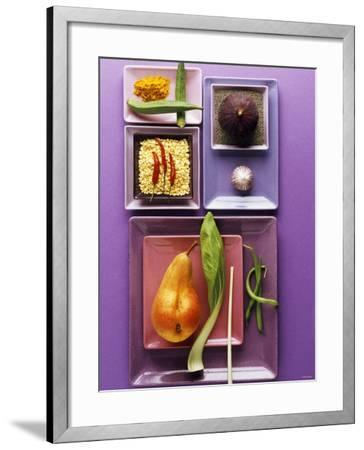 Interesting Combination of Foods on Plates-Luzia Ellert-Framed Photographic Print