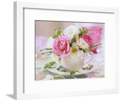 White and Pink Roses and Heather in a Cup-Friedrich Strauss-Framed Photographic Print