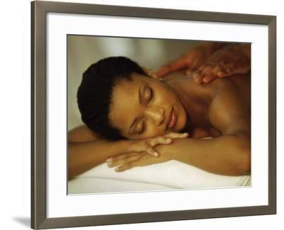 Young Woman Getting Her Back Massaged--Framed Photographic Print