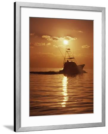 Fishing Boat with Sunset Sky--Framed Photographic Print