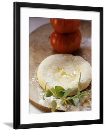 Unbaked Pizza, Fresh Herbs and Tomatoes--Framed Photographic Print