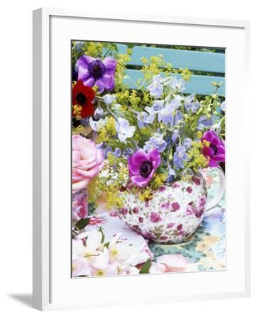 Anemones and Delphiniums in a Teapot-Linda Burgess-Framed Photographic Print