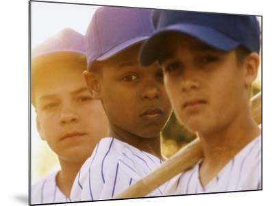 Portrait of Three Boys in Full Baseball Uniforms--Mounted Photographic Print