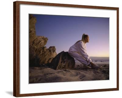 Young Woman Exercising on the Beach--Framed Photographic Print