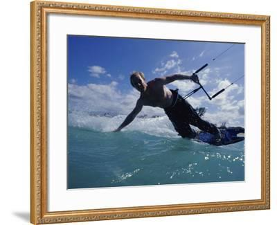 Man Kitesurfing on the Surface of Water--Framed Photographic Print