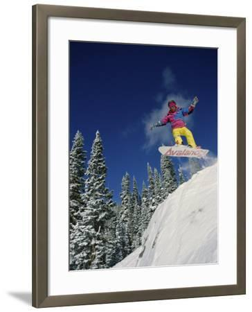 Airborne Snowboarder--Framed Photographic Print