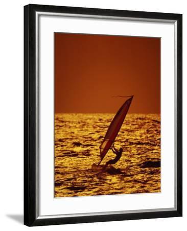 Windsurfer Silhouette--Framed Photographic Print