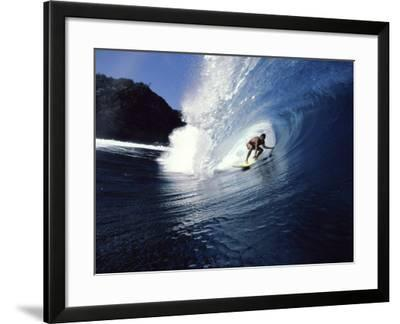 Surfer Riding a Wave--Framed Photographic Print