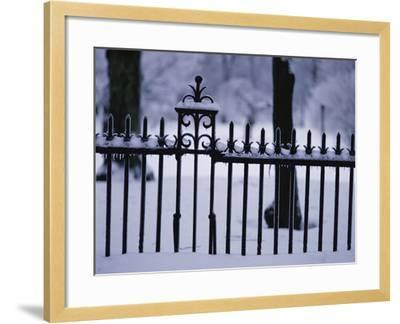 Metal Fence in a Snow Covered Landscape--Framed Photographic Print