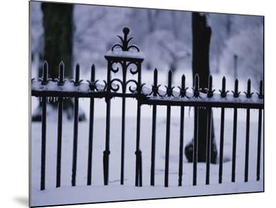 Metal Fence in a Snow Covered Landscape--Mounted Photographic Print