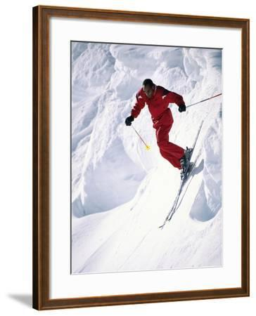 African-American Skier in Red--Framed Photographic Print