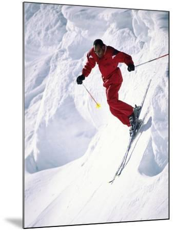 African-American Skier in Red--Mounted Photographic Print