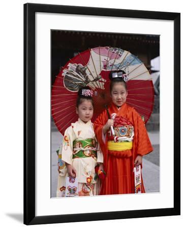 Girls Dressed in Kimono, Shichi-Go-San Festival (Festival for Three, Five, Seven Year Old Children)--Framed Photographic Print