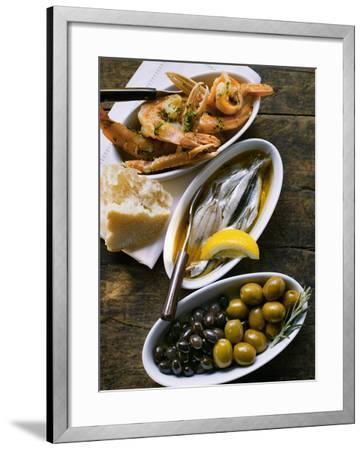 Marinated Sardines, Fried Scampi and Olives--Framed Photographic Print