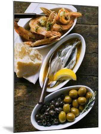 Marinated Sardines, Fried Scampi and Olives--Mounted Photographic Print