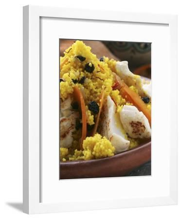 Saffron Couscous with Fish, Carrots and Raisins (N. Africa)--Framed Photographic Print